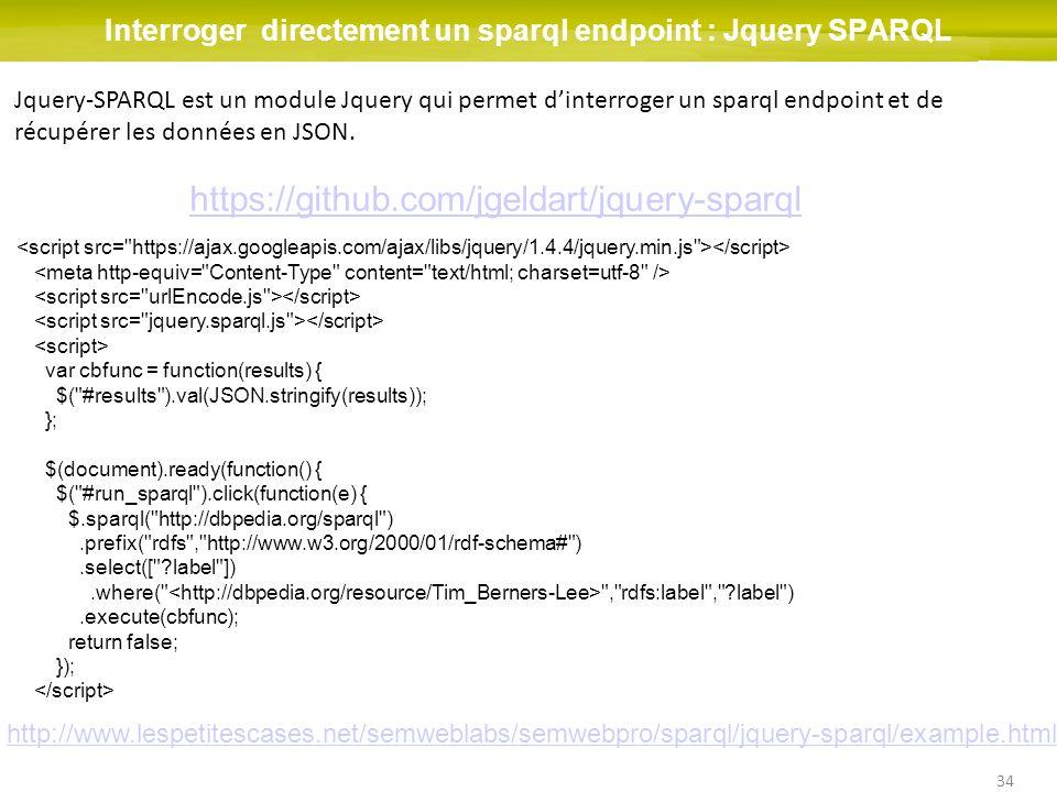 34 Interroger directement un sparql endpoint : Jquery SPARQL Jquery-SPARQL est un module Jquery qui permet dinterroger un sparql endpoint et de récupé