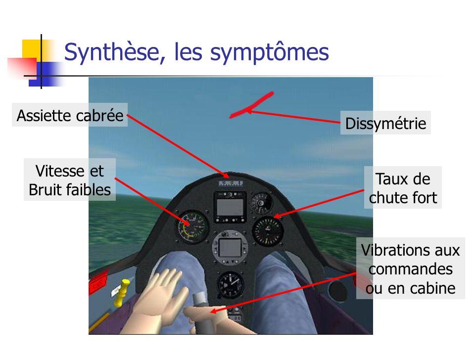 Synthèse, les symptômes Assiette cabrée Dissymétrie Vitesse et Bruit faibles Taux de chute fort Vibrations aux commandes ou en cabine