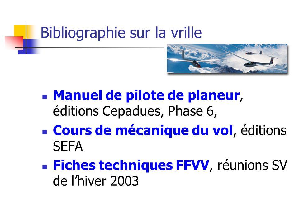 Bibliographie sur la vrille Manuel de pilote de planeur, éditions Cepadues, Phase 6, Cours de mécanique du vol, éditions SEFA Fiches techniques FFVV, réunions SV de lhiver 2003
