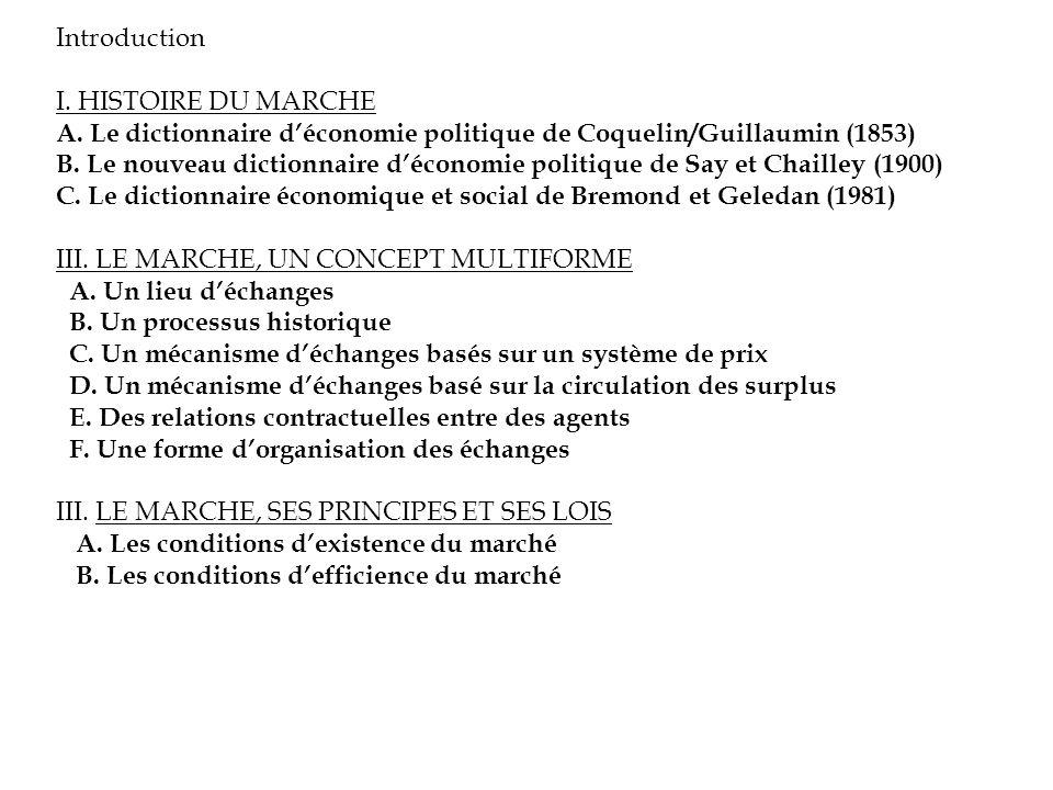 Introduction I. HISTOIRE DU MARCHE A. Le dictionnaire déconomie politique de Coquelin/Guillaumin (1853) B. Le nouveau dictionnaire déconomie politique