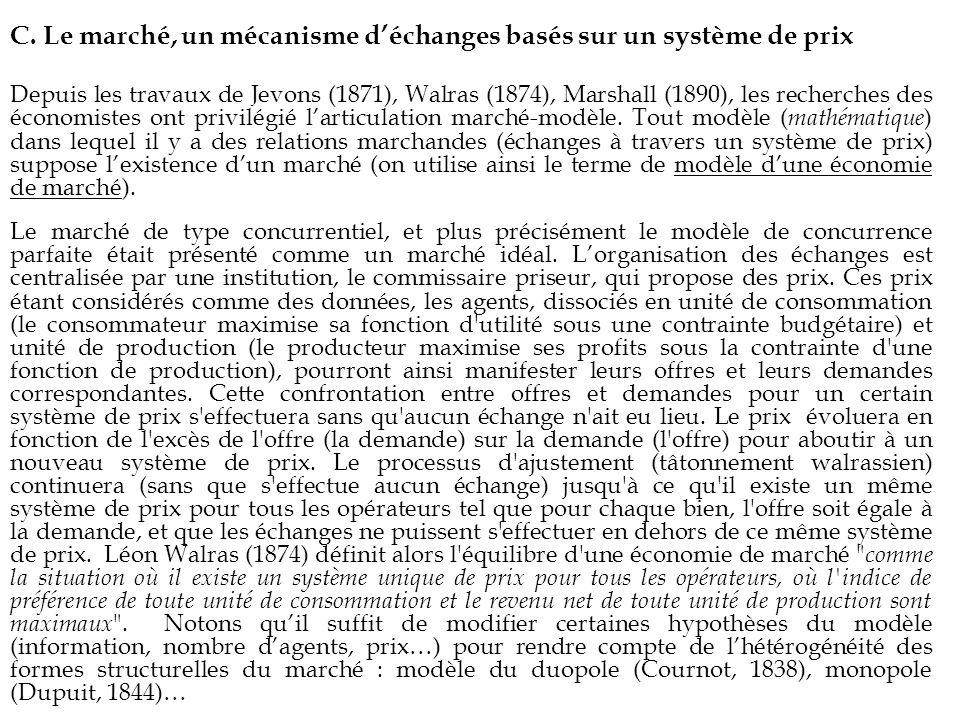 C. Le marché, un mécanisme déchanges basés sur un système de prix Depuis les travaux de Jevons (1871), Walras (1874), Marshall (1890), les recherches