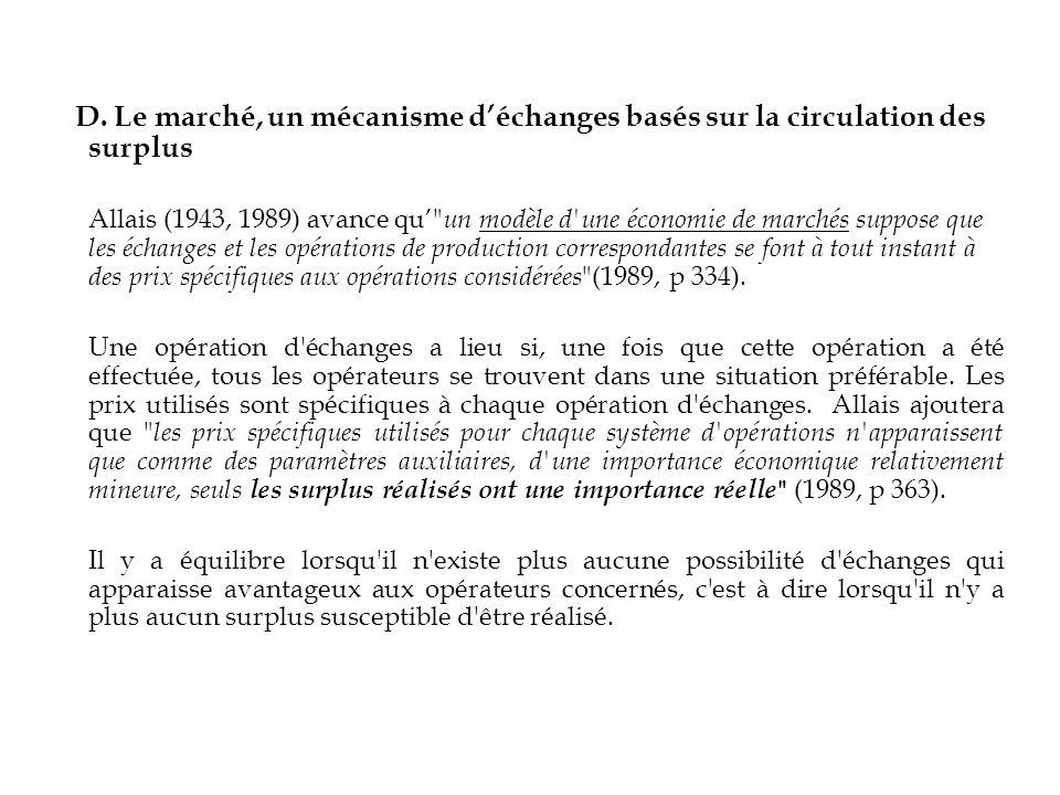 D. Le marché, un mécanisme déchanges basés sur la circulation des surplus Allais (1943, 1989) avance qu