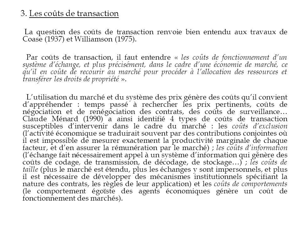 3. Les coûts de transaction La question des coûts de transaction renvoie bien entendu aux travaux de Coase (1937) et Williamson (1975). Par coûts de t