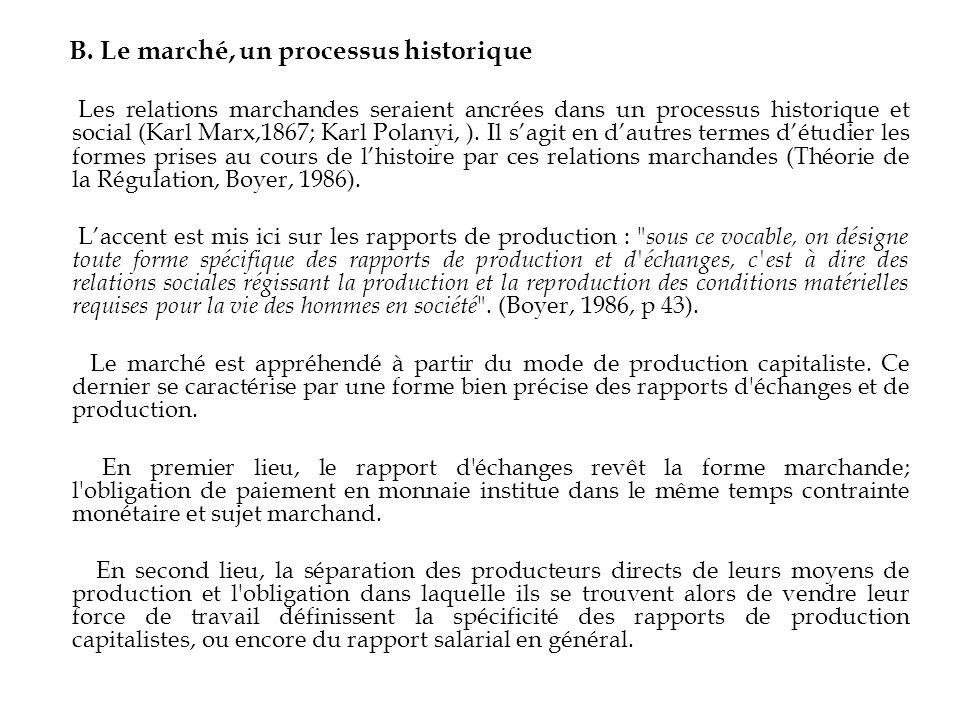 B. Le marché, un processus historique Les relations marchandes seraient ancrées dans un processus historique et social (Karl Marx,1867; Karl Polanyi,
