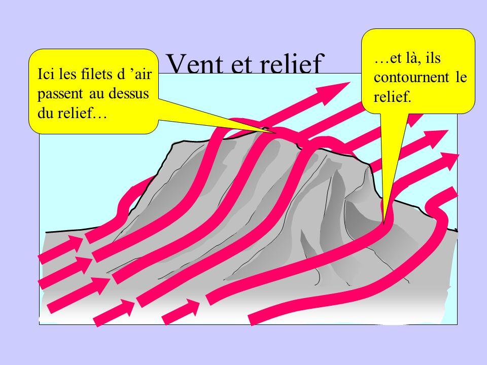 Le relief perturbe l écoulement de l air Vent et relief Ici les filets d air passent au dessus du relief… …et là, ils contournent le relief.