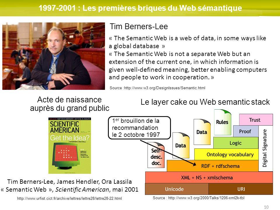 10 1997-2001 : Les premières briques du Web sémantique Source :http://www.w3.org/DesignIssues/Semantic.html « The Semantic Web is a web of data, in so