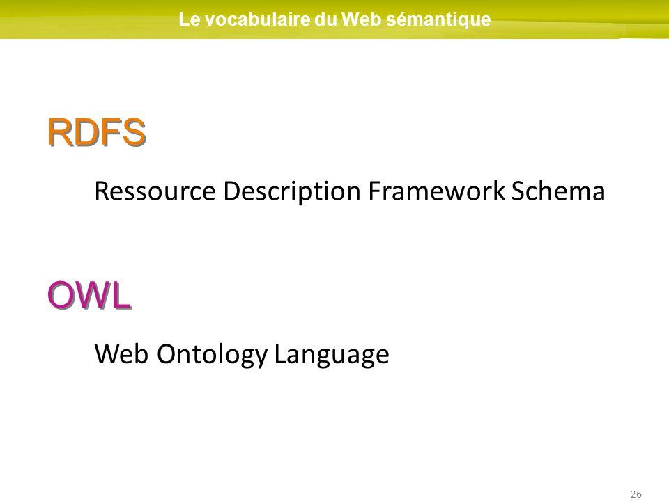 26 RDFS Le vocabulaire du Web sémantique Ressource Description Framework Schema OWL Web Ontology Language