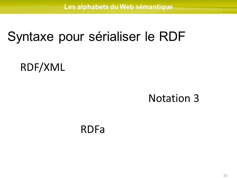 33 RDF/XML Les alphabets du Web sémantique Syntaxe pour sérialiser le RDF RDFa Notation 3