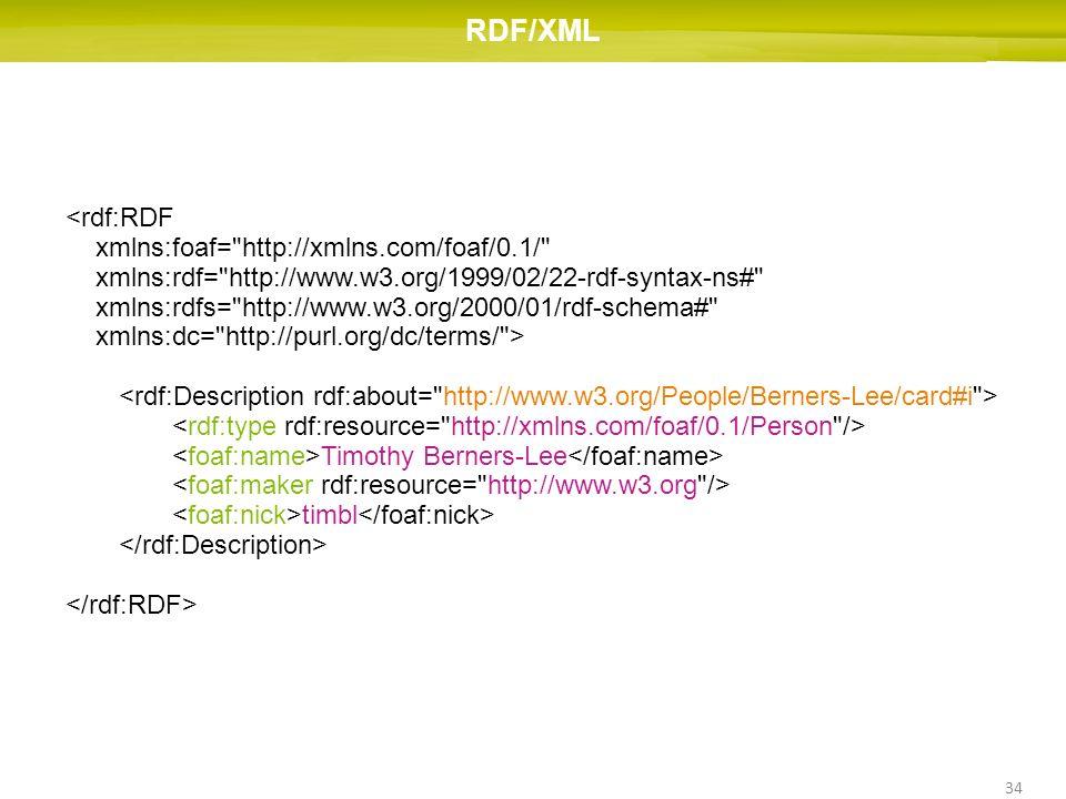 34 RDF/XML <rdf:RDF xmlns:foaf=