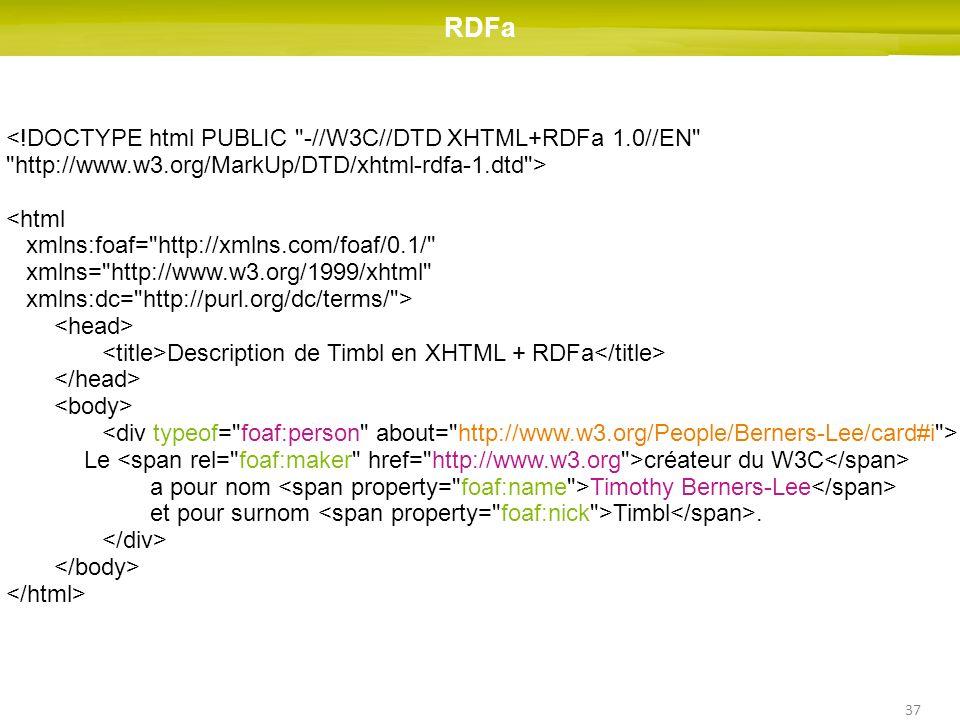 37 RDFa <!DOCTYPE html PUBLIC