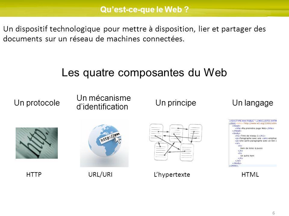 6 Quest-ce-que le Web ? Un dispositif technologique pour mettre à disposition, lier et partager des documents sur un réseau de machines connectées. Le
