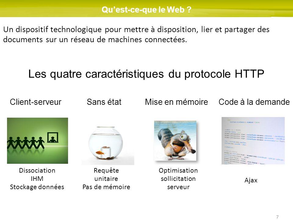 7 Quest-ce-que le Web ? Un dispositif technologique pour mettre à disposition, lier et partager des documents sur un réseau de machines connectées. Le