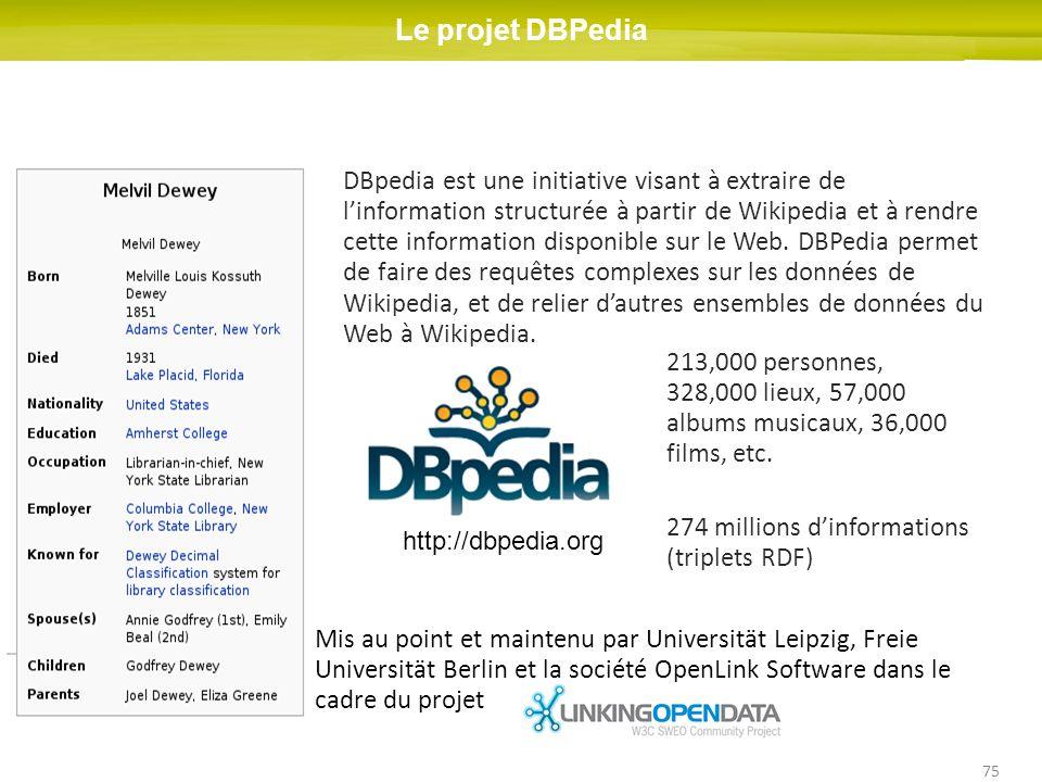 75 Le projet DBPedia 213,000 personnes, 328,000 lieux, 57,000 albums musicaux, 36,000 films, etc. 274 millions dinformations (triplets RDF) DBpedia es