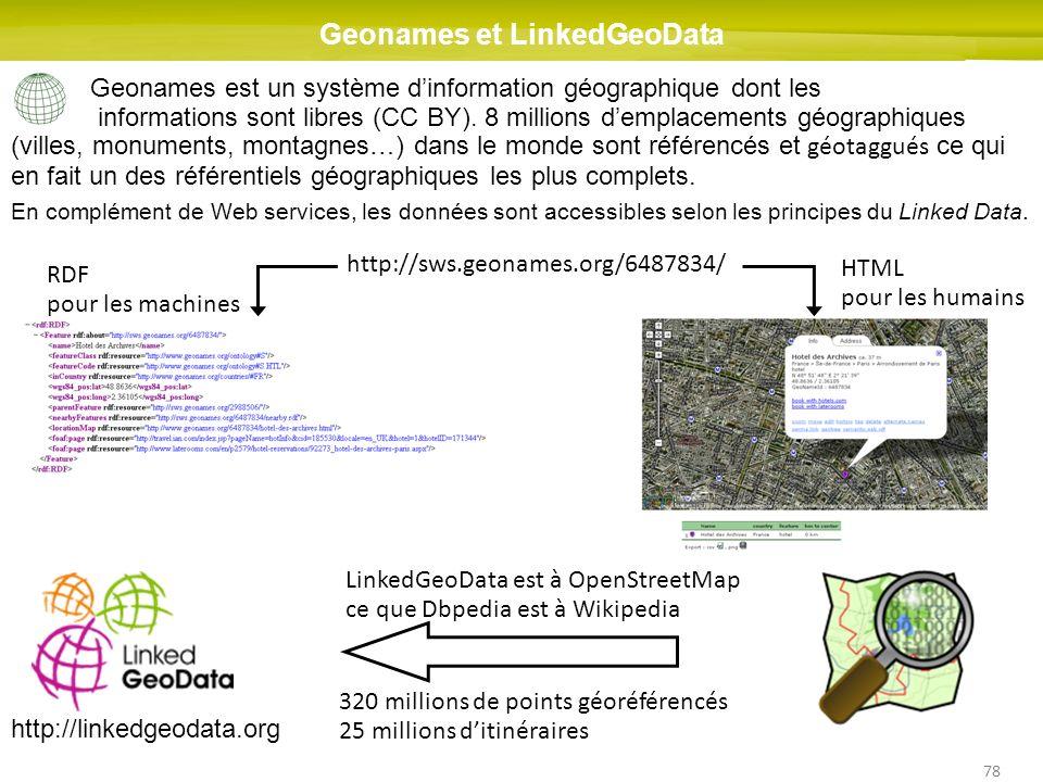 78 Geonames et LinkedGeoData Geonames est un système dinformation géographique dont les informations sont libres (CC BY). 8 millions demplacements géo