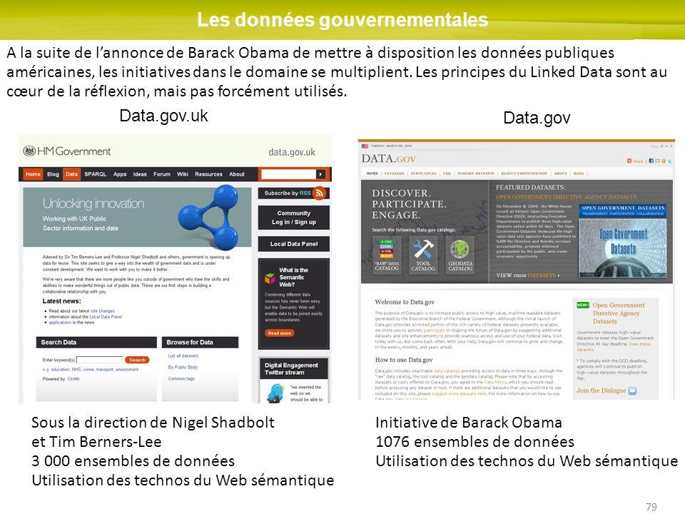 79 Les données gouvernementales Data.gov.uk Data.gov A la suite de lannonce de Barack Obama de mettre à disposition les données publiques américaines,