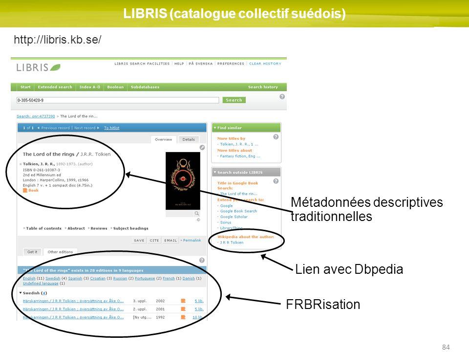 84 http://libris.kb.se/ LIBRIS (catalogue collectif suédois) FRBRisation Lien avec Dbpedia Métadonnées descriptives traditionnelles