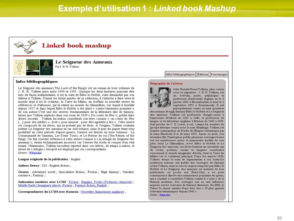 86 Exemple dutilisation 1 : Linked book Mashup