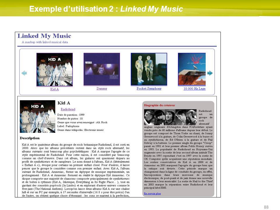 88 Exemple dutilisation 2 : Linked My Music