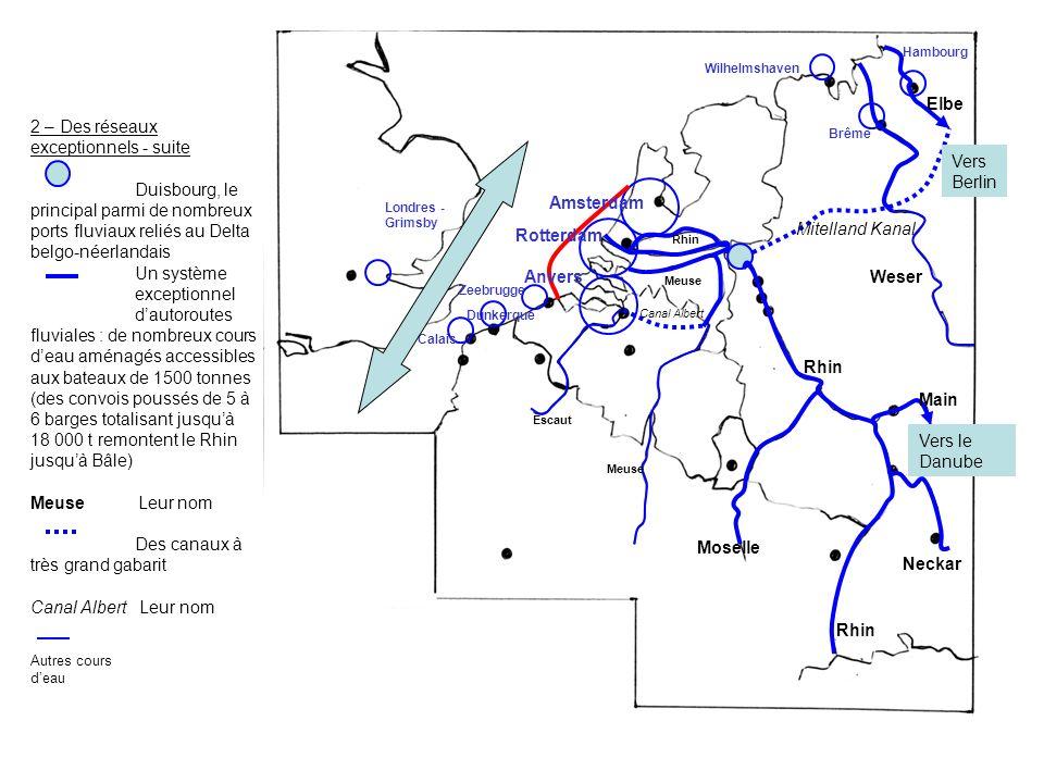 2 – Des réseaux exceptionnels - suite Duisbourg, le principal parmi de nombreux ports fluviaux reliés au Delta belgo-néerlandais Un système exceptionn
