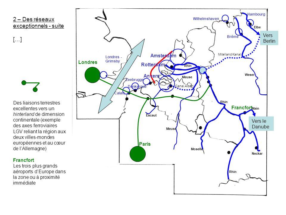 2 – Des réseaux exceptionnels - suite […] Des liaisons terrestres excellentes vers un hinterland de dimension continentale (exemple des axes ferroviai