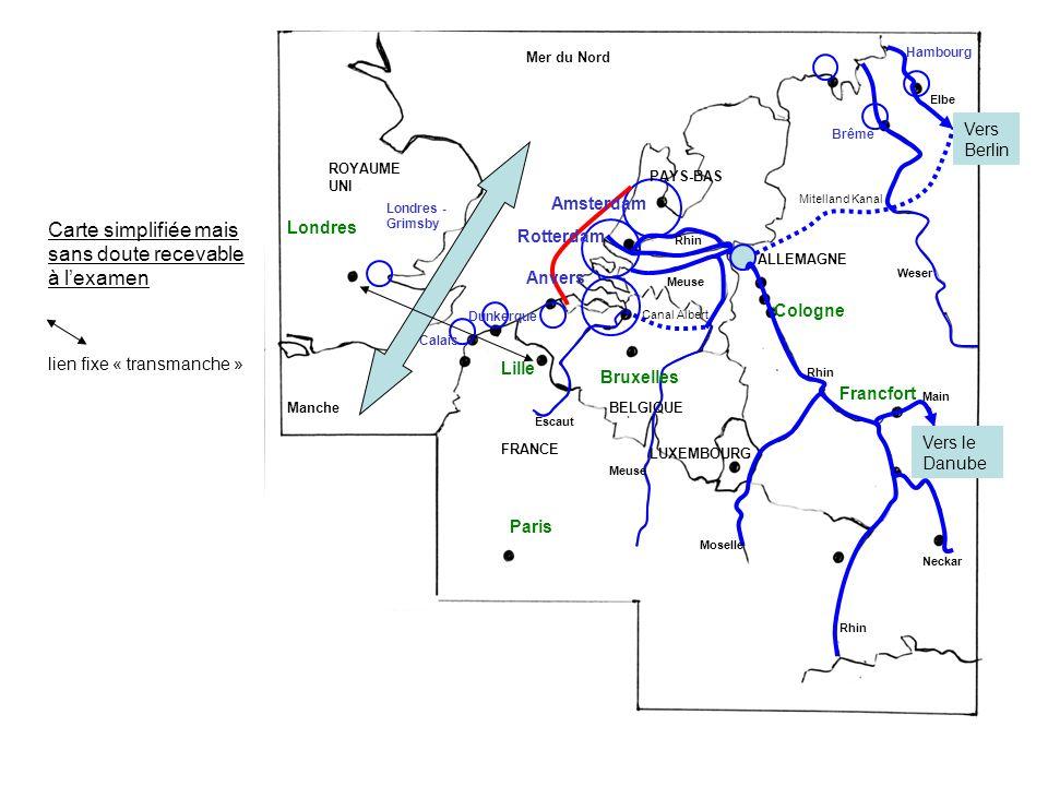 Carte simplifiée mais sans doute recevable à lexamen lien fixe « transmanche » Dunkerque Calais Brême Hambourg Amsterdam Rotterdam Anvers Meuse Canal