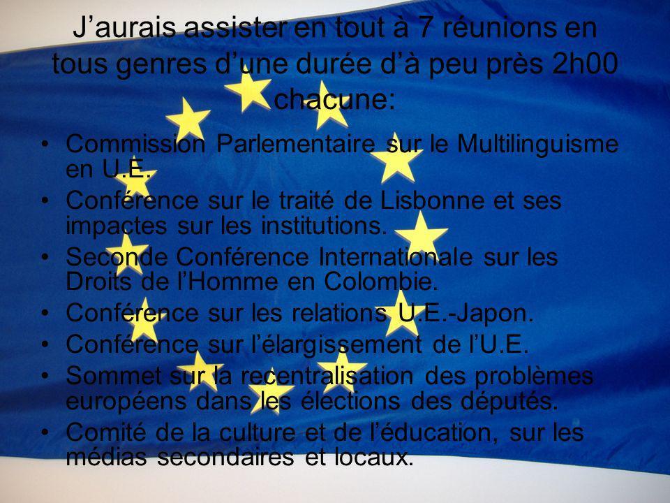 Jaurais assister en tout à 7 réunions en tous genres dune durée dà peu près 2h00 chacune: Commission Parlementaire sur le Multilinguisme en U.E. Confé
