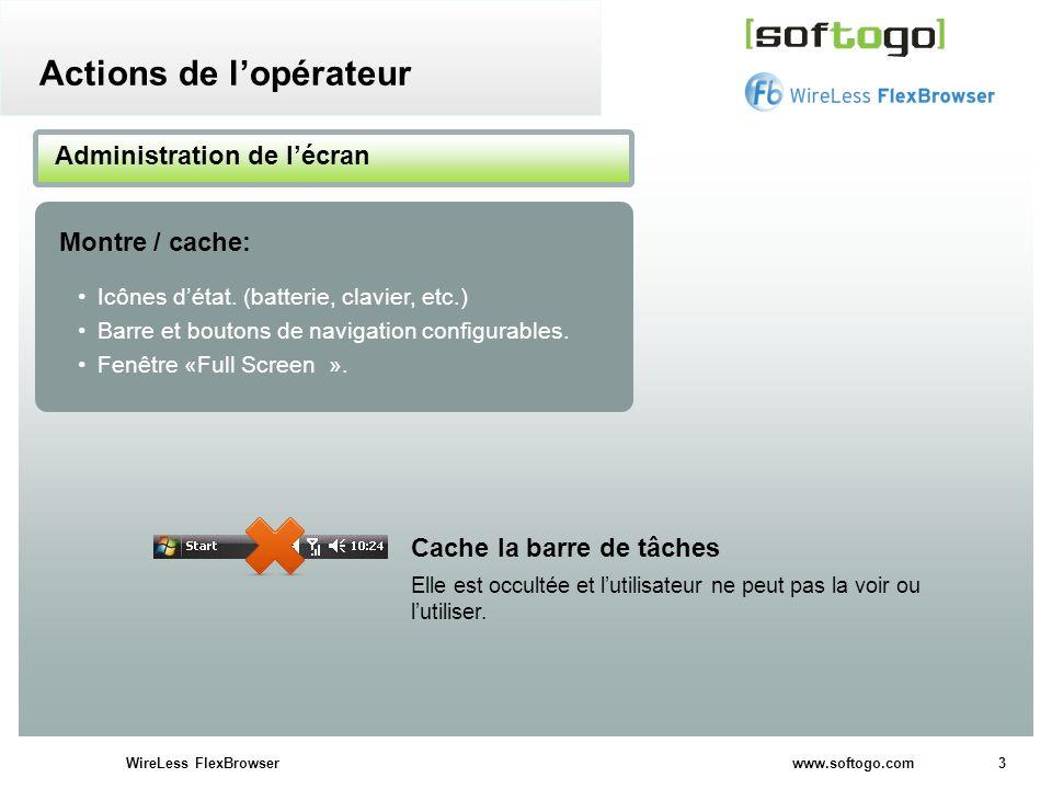 3WireLess FlexBrowser www.softogo.com Icônes détat. (batterie, clavier, etc.) Barre et boutons de navigation configurables. Fenêtre «Full Screen ». Ad