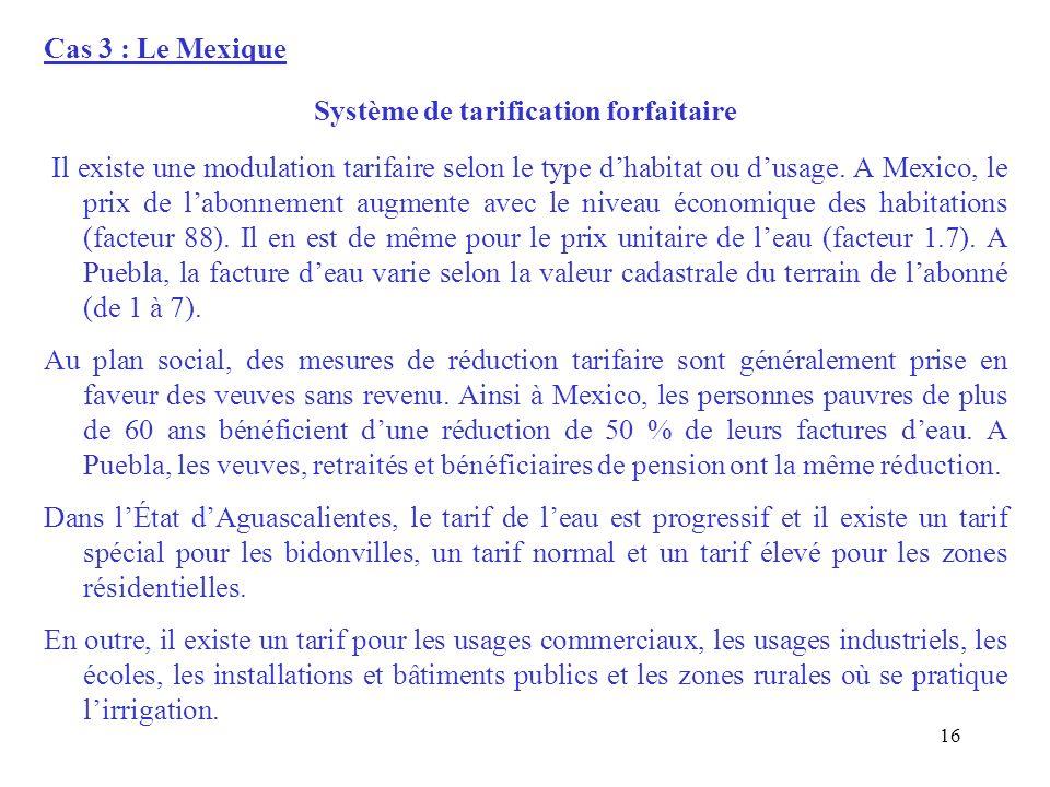Cas 3 : Le Mexique Système de tarification forfaitaire Il existe une modulation tarifaire selon le type dhabitat ou dusage. A Mexico, le prix de labon
