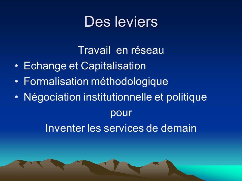 Des leviers Travail en réseau Echange et Capitalisation Formalisation méthodologique Négociation institutionnelle et politique pour Inventer les services de demain