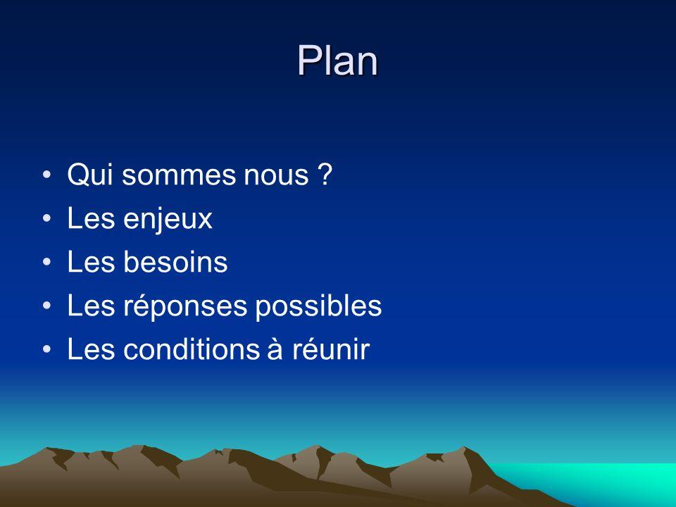 Plan Qui sommes nous ? Les enjeux Les besoins Les réponses possibles Les conditions à réunir