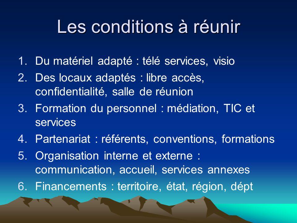 Les conditions à réunir 1.Du matériel adapté : télé services, visio 2.Des locaux adaptés : libre accès, confidentialité, salle de réunion 3.Formation