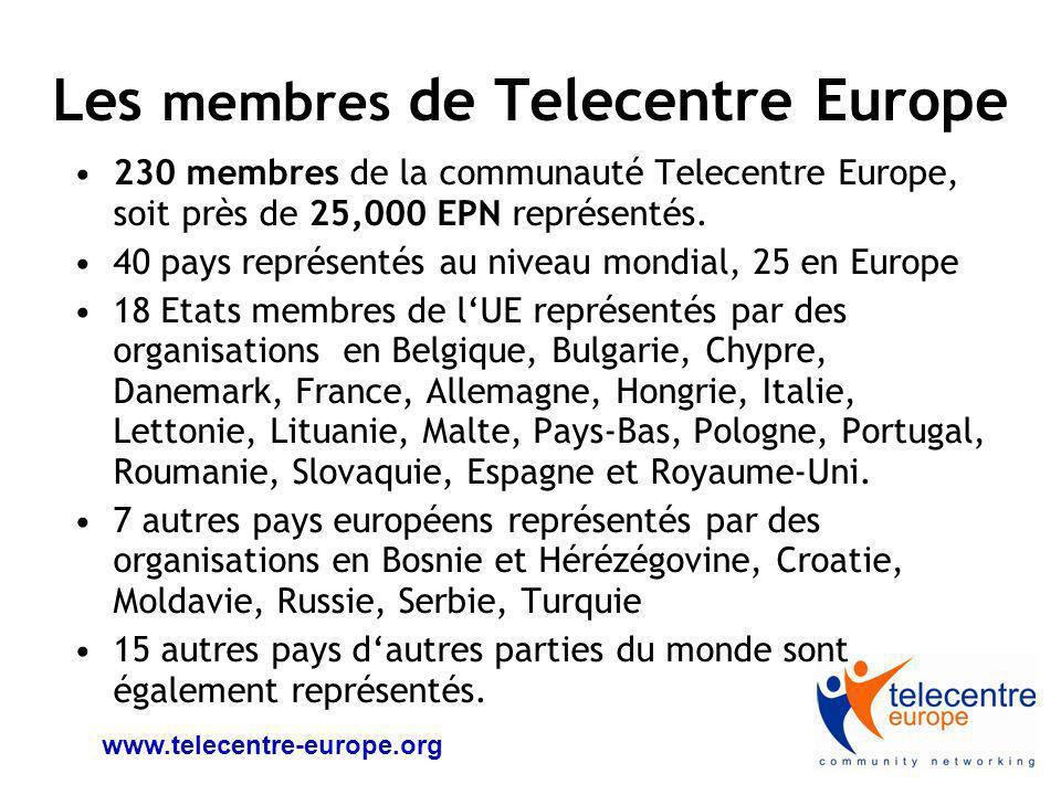www.telecentre-europe.org Le réseau européen de Telecentres [EPN] 100.000 EPN à travers lEurope 250.000 employés salariés et 100.000 bénévoles Ces structures travaillent directement tous les ans avec, au moins, 25 millions de citoyens exclus numériquement sur lensemble du terrioire européen.