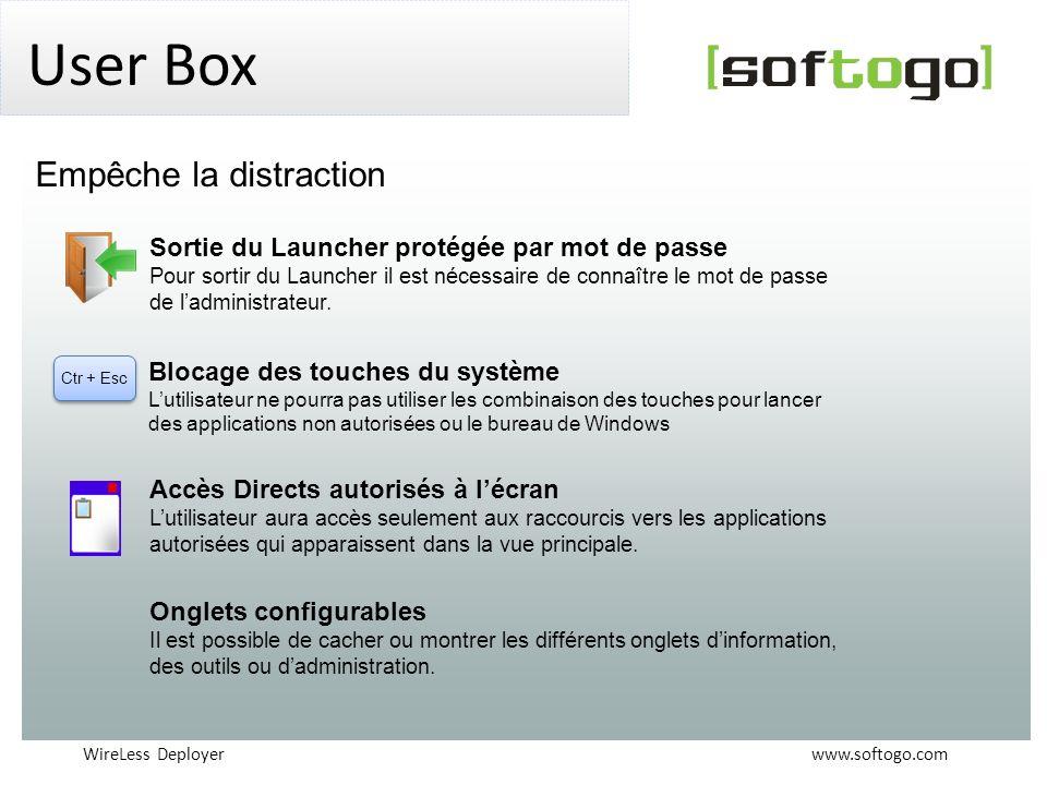 WireLess Deployer www.softogo.com User Box Ctr + Esc Sortie du Launcher protégée par mot de passe Pour sortir du Launcher il est nécessaire de connaît