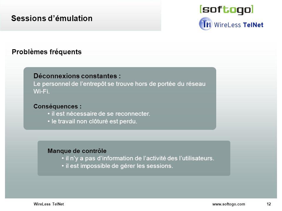 12WireLess TelNet www.softogo.com Problèmes fréquents Déconnexions constantes : Le personnel de lentrepôt se trouve hors de portée du réseau Wi-Fi. Co
