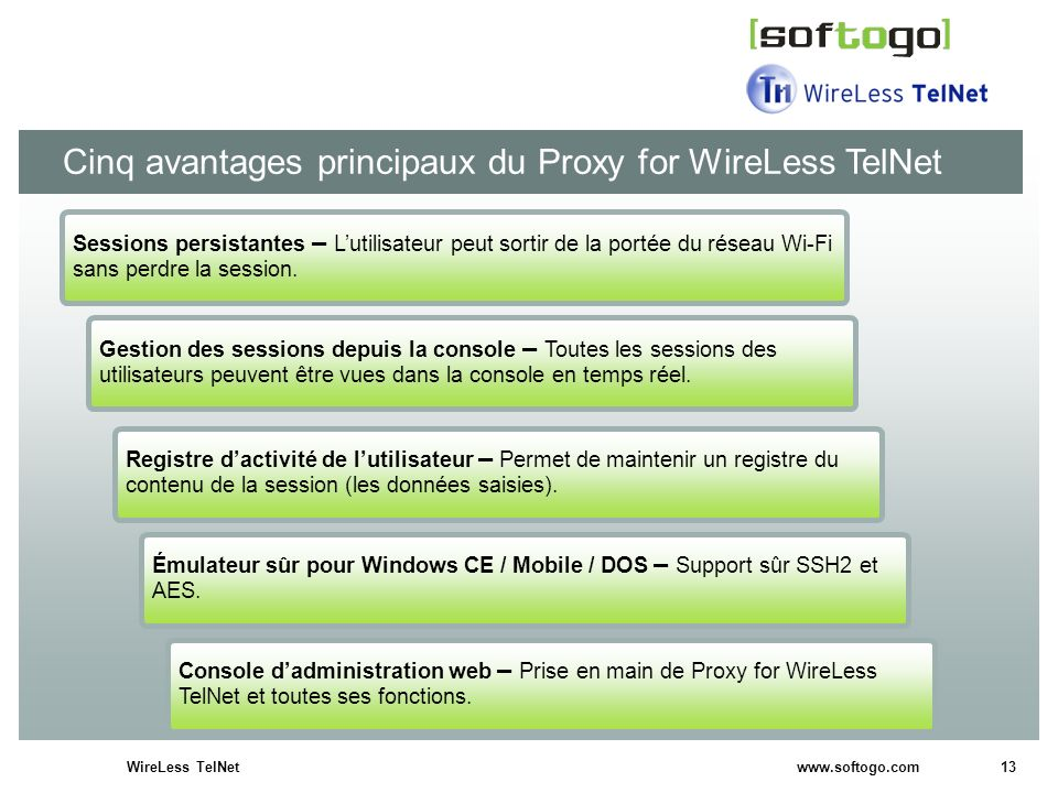 13WireLess TelNet www.softogo.com Cinq avantages principaux du Proxy for WireLess TelNet Gestion des sessions depuis la console – Toutes les sessions