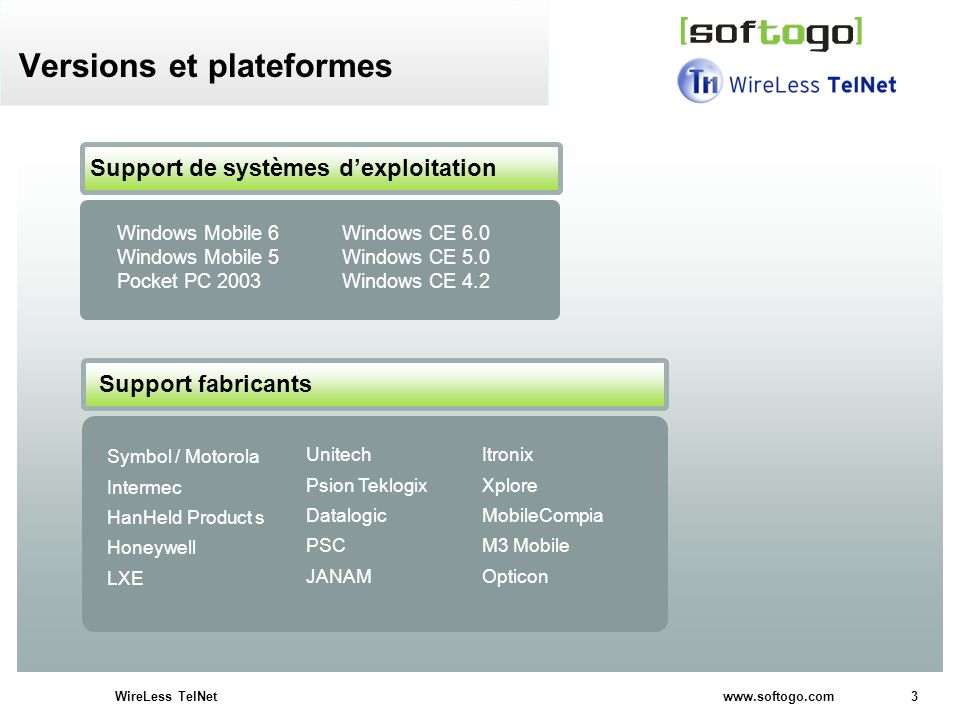 3WireLess TelNet www.softogo.com Versions et plateformes Support de systèmes dexploitation Windows Mobile 6 Windows CE 6.0 Windows Mobile 5 Windows CE