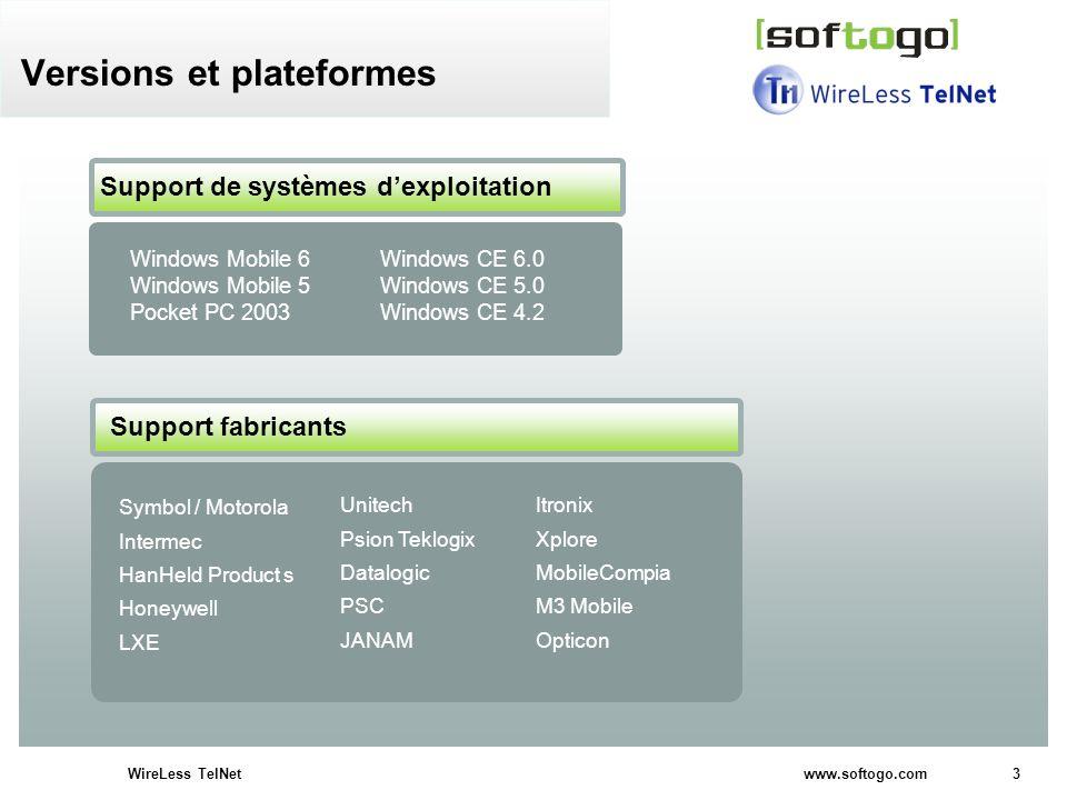 4WireLess TelNet www.softogo.com Disponible pour: VT 100, VT 200 5250, 3270 ANSI SSH Versions et plateformes Support multilingue: français, espagnol, anglais Interface sur le PC Interface sur le PDA Documentation on-line Support technique