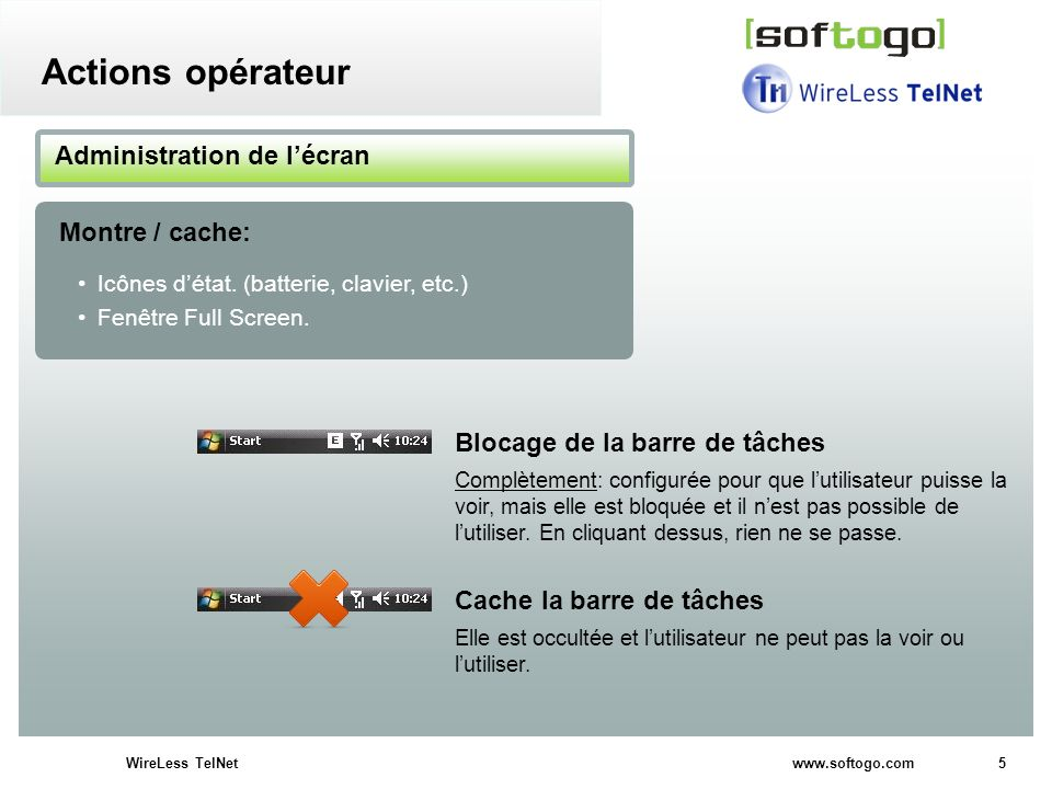 5WireLess TelNet www.softogo.com Icônes détat. (batterie, clavier, etc.) Fenêtre Full Screen. Administration de lécran Montre / cache: Actions opérate