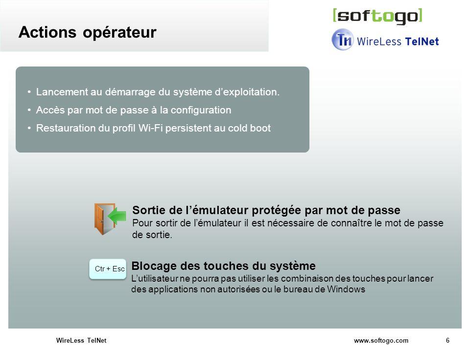 6WireLess TelNet www.softogo.com Lancement au démarrage du système dexploitation. Accès par mot de passe à la configuration Restauration du profil Wi-