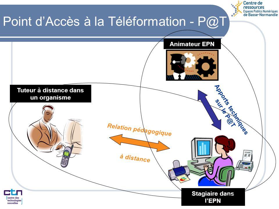 Tuteur à distance dans un organisme Animateur EPN Stagiaire dans lEPN Relation pédagogique à distance Apports techniques sur le P@T Point dAccès à la Téléformation - P@T
