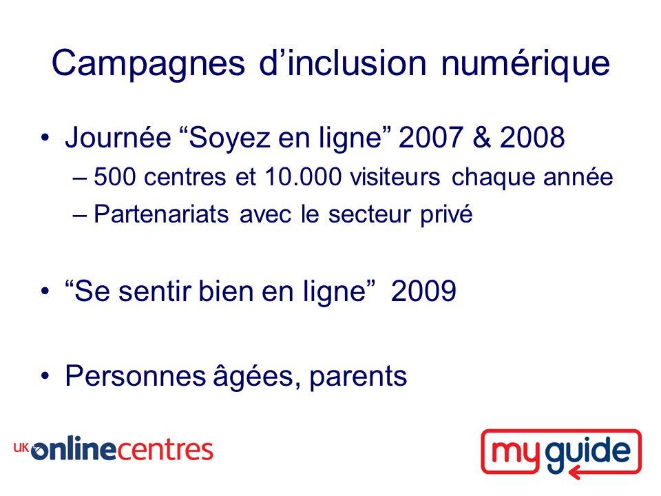 Campagnes dinclusion numérique Journée Soyez en ligne 2007 & 2008 –500 centres et 10.000 visiteurs chaque année –Partenariats avec le secteur privé Se sentir bien en ligne 2009 Personnes âgées, parents