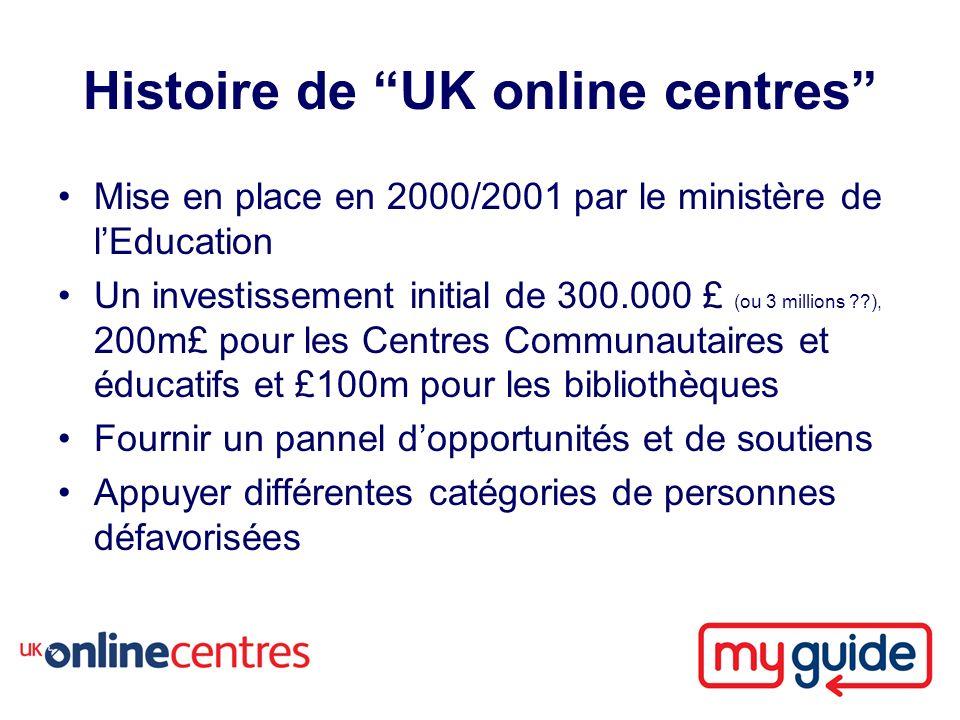 Histoire de UK online centres Mise en place en 2000/2001 par le ministère de lEducation Un investissement initial de 300.000 £ (ou 3 millions ), 200m£ pour les Centres Communautaires et éducatifs et £100m pour les bibliothèques Fournir un pannel dopportunités et de soutiens Appuyer différentes catégories de personnes défavorisées
