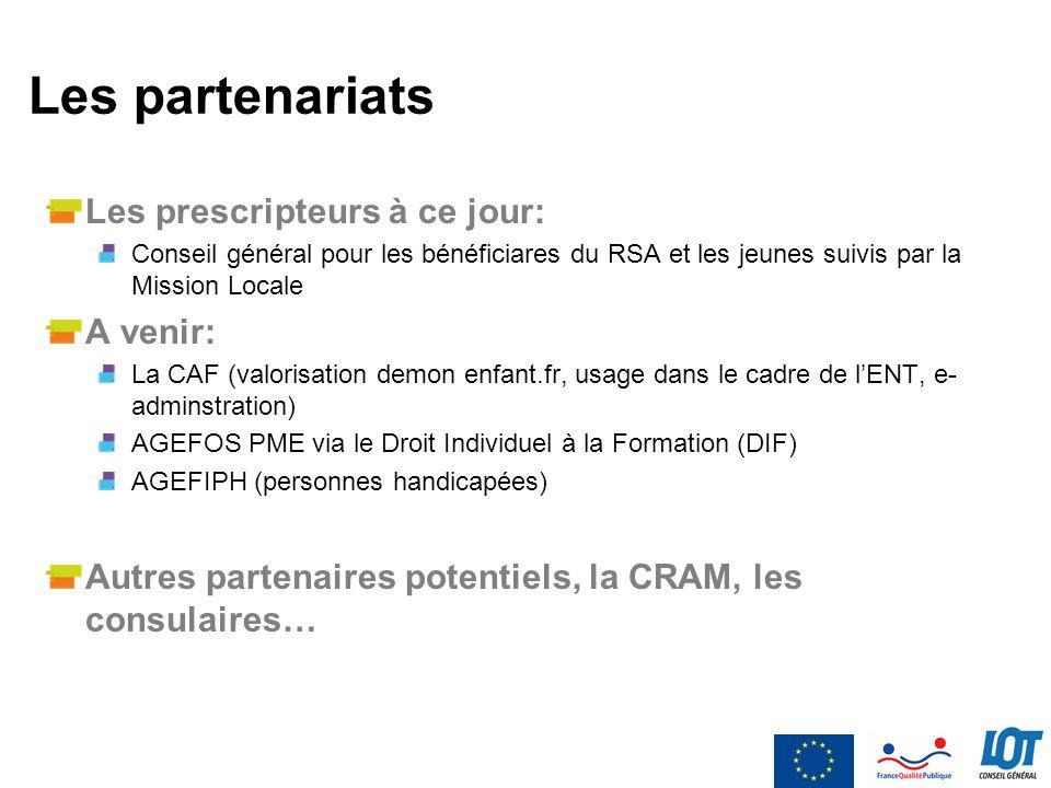 Les partenariats Les prescripteurs à ce jour: Conseil général pour les bénéficiares du RSA et les jeunes suivis par la Mission Locale A venir: La CAF