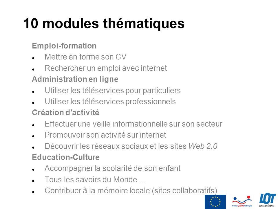 10 modules thématiques Emploi-formation Mettre en forme son CV Rechercher un emploi avec internet Administration en ligne Utiliser les téléservices po
