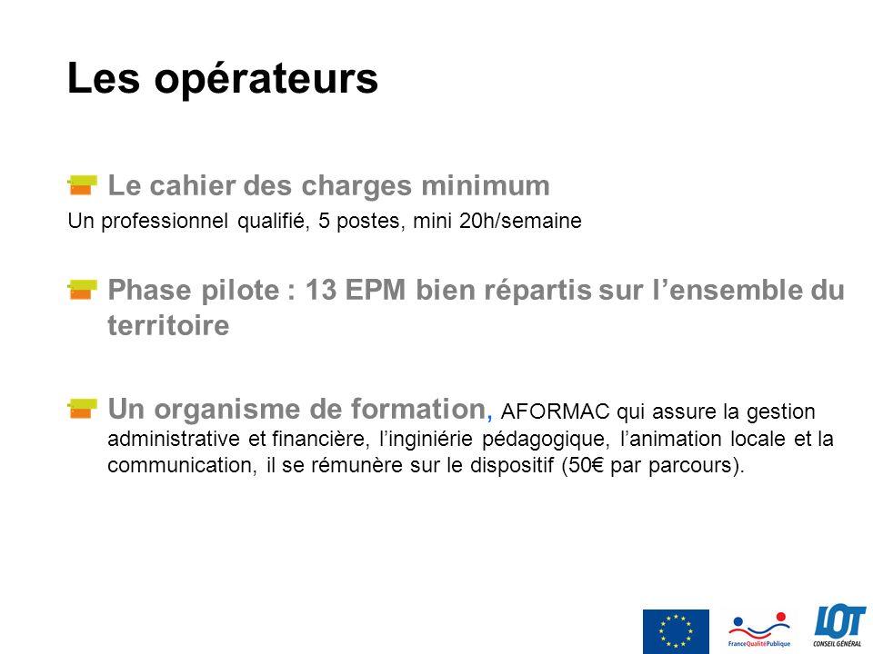 Les opérateurs Le cahier des charges minimum Un professionnel qualifié, 5 postes, mini 20h/semaine Phase pilote : 13 EPM bien répartis sur lensemble d
