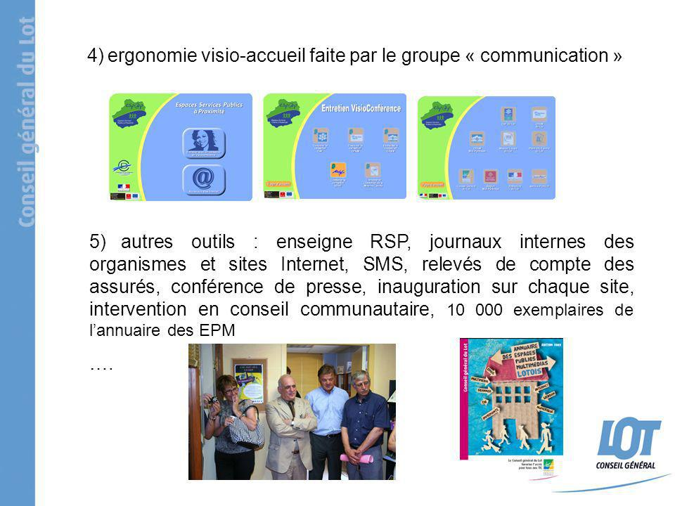 4) ergonomie visio-accueil faite par le groupe « communication » 5) autres outils : enseigne RSP, journaux internes des organismes et sites Internet,