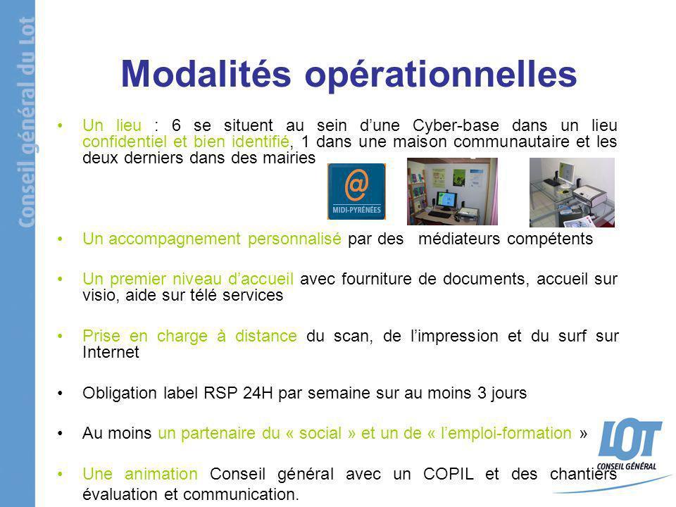 Modalités opérationnelles Un lieu : 6 se situent au sein dune Cyber-base dans un lieu confidentiel et bien identifié, 1 dans une maison communautaire