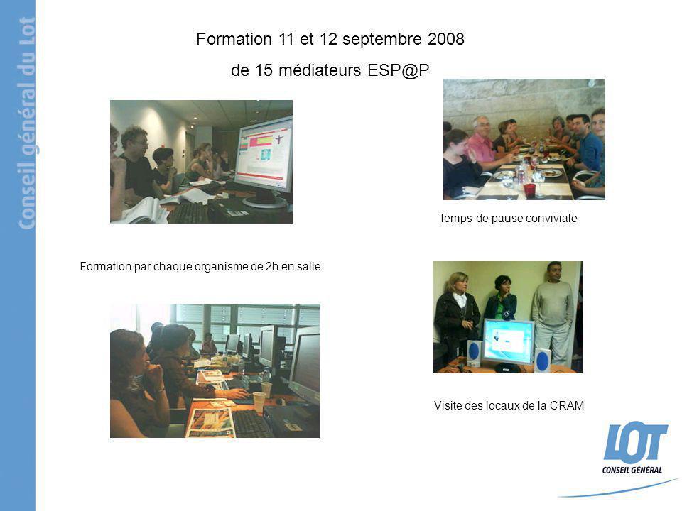 Formation 11 et 12 septembre 2008 de 15 médiateurs ESP@P Visite des locaux de la CRAM Formation par chaque organisme de 2h en salle Temps de pause con