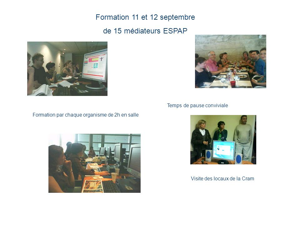 Formation 11 et 12 septembre de 15 médiateurs ESPAP Visite des locaux de la Cram Formation par chaque organisme de 2h en salle Temps de pause conviviale