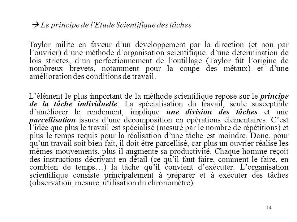 14 Le principe de l'Etude Scientifique des tâches Taylor milite en faveur dun développement par la direction (et non par louvrier) dune méthode dorgan